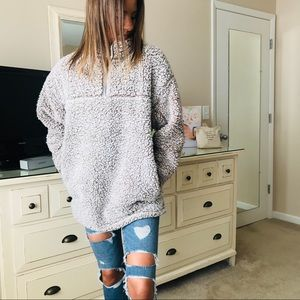Tops - Fuzzy Sherpa Pullover Quarter Zip Fleece Teddy